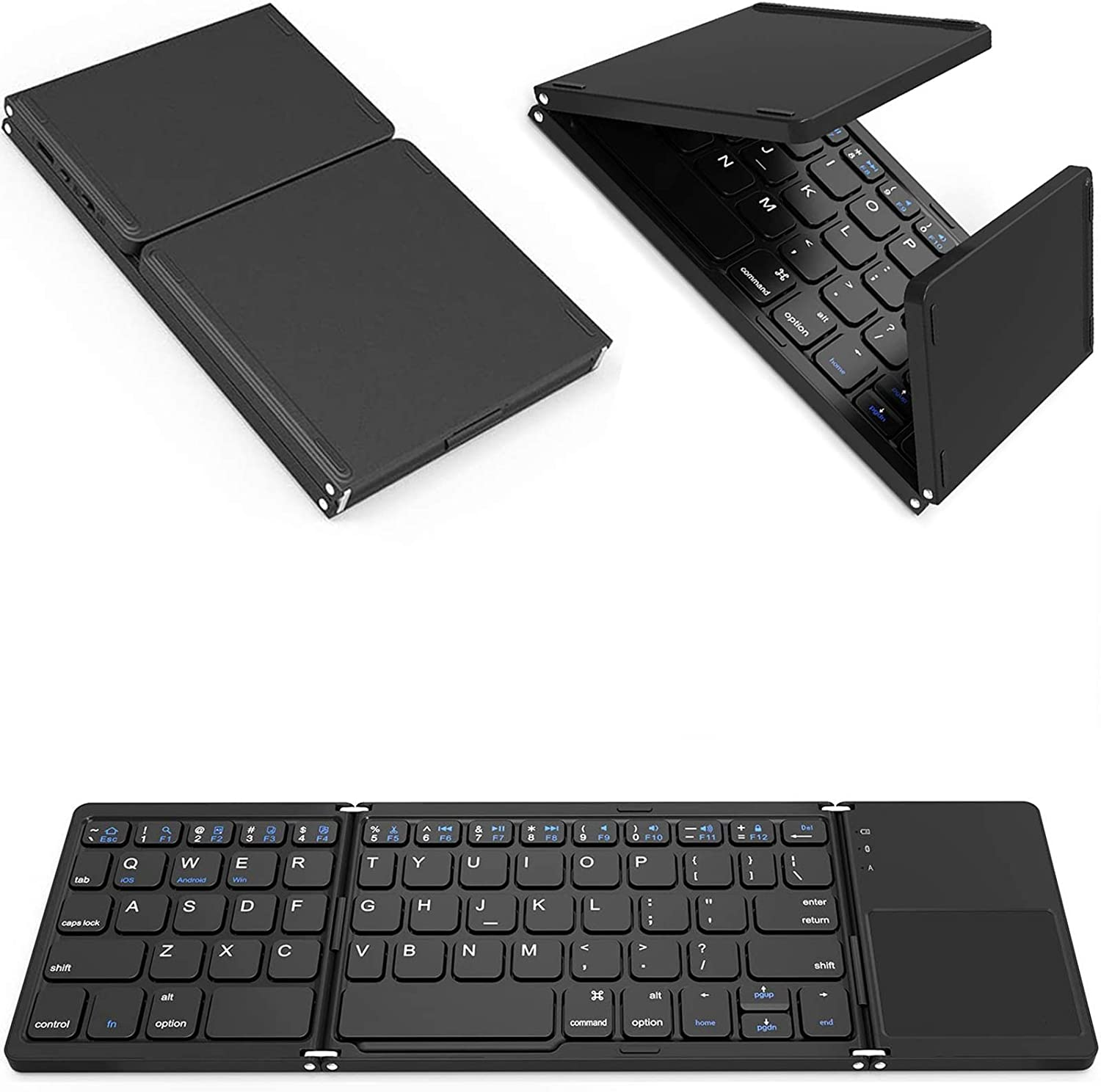 Tek Styz Foldable Bluetooth Keyboard Works for Lenovo Yoga Tablet 2 8-inch (Android) Dual Mode Bluetooth & USB Wired Rechargable Portable Mini BT Wireless Keyboard with Touchpad Mouse!