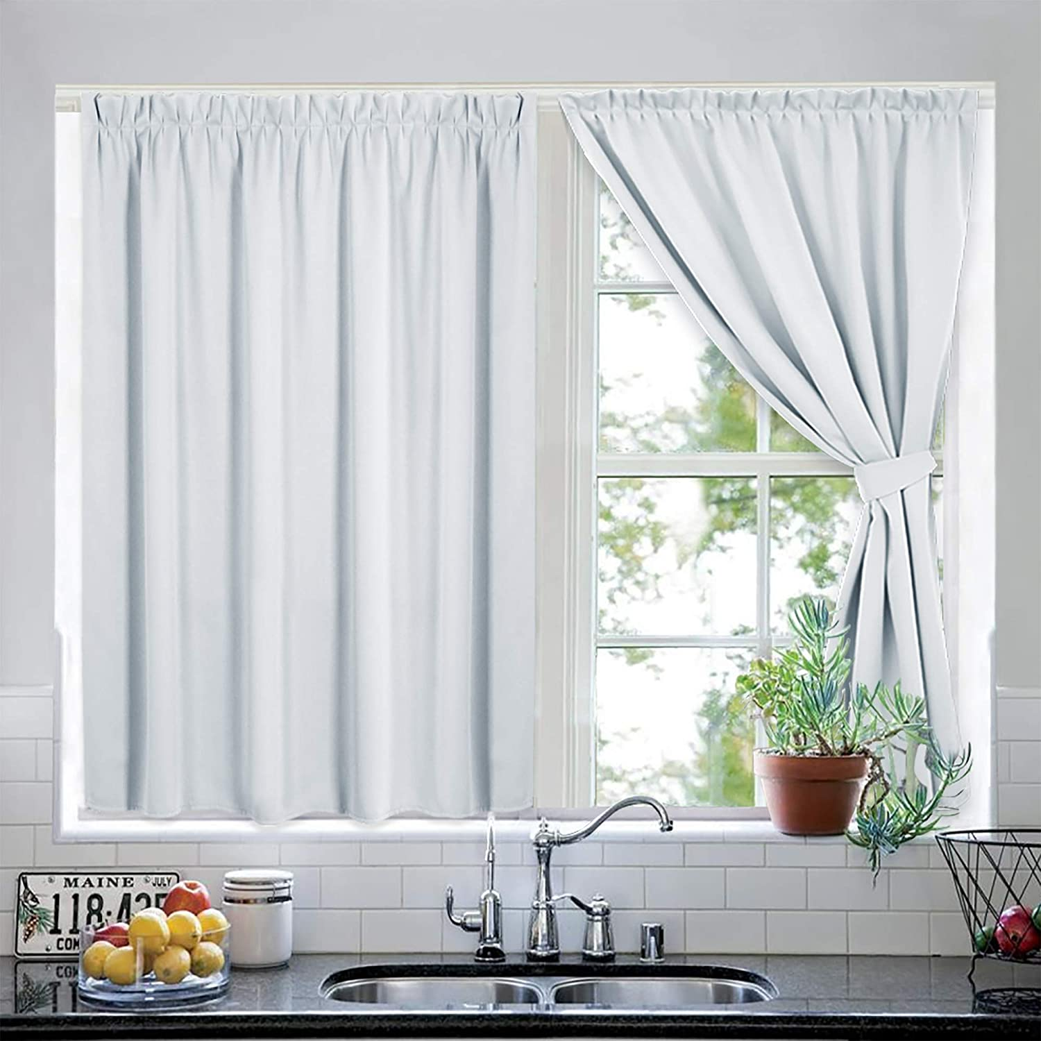 RYB HOME White Privacy Curtains for Bedroom, Room Darkening Curtains for Living Room, Draped Curtains for No Rod Track Windows Treatment Come with 2 Tie Backs, 40 W x 63 L, Greyish White, 2 Pieces