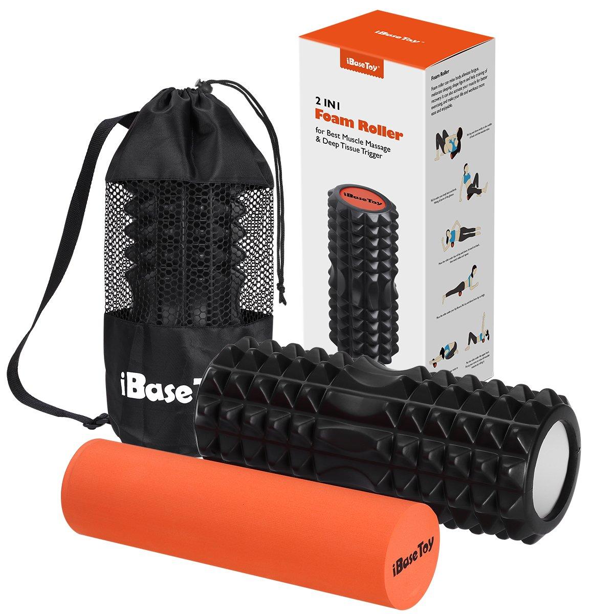 Faszienrolle Massagerolle Foam Roller Set 2 in 1 zur Muskelmassage für Sport Yoga Fitness Physiotherapie Lösung von Verspannungen Größe 33cm – Schwarz/Orange (Tragetasche inklusive) IBASETOY