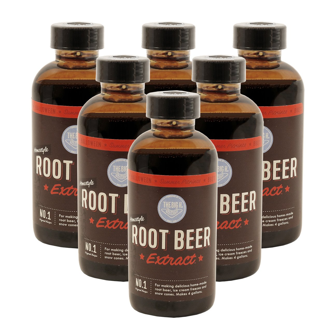 Hires Big H Root Beer Extract, Make Your Own Root Beer - 6 Pack