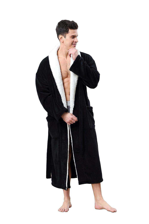 OUFANG Mens Robe Sherpa Kimono Shawl Collar Bathrobe Comfy Spa Bath Robe S-XL