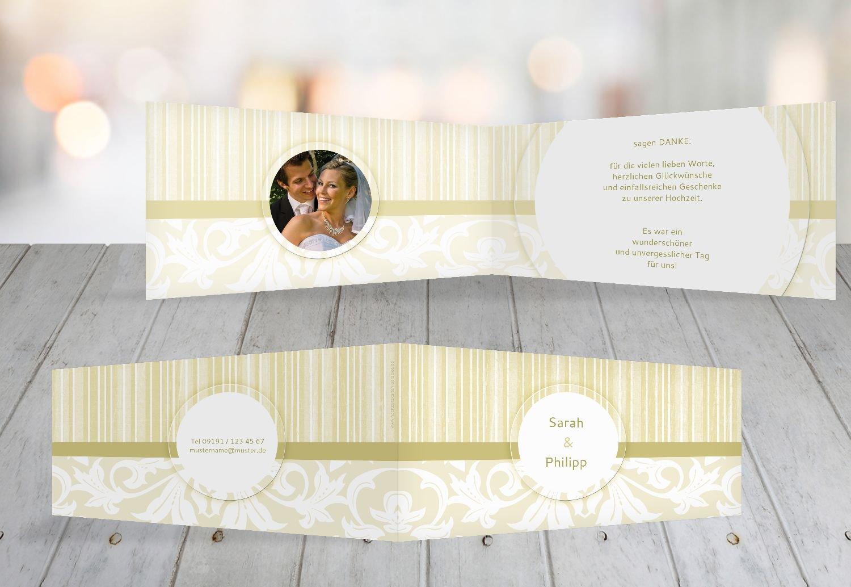 Kartenparadies Danksagung für Hochzeitsgeschenke Hochzeit Dankeskarte Streifenzauber, hochwertige Danksagungskarte Hochzeitsglückwünsche inklusive Umschläge   20 Karten - (Format  215x105 mm) Farbe  champagner B01N36G2IP | Kaufen Sie o