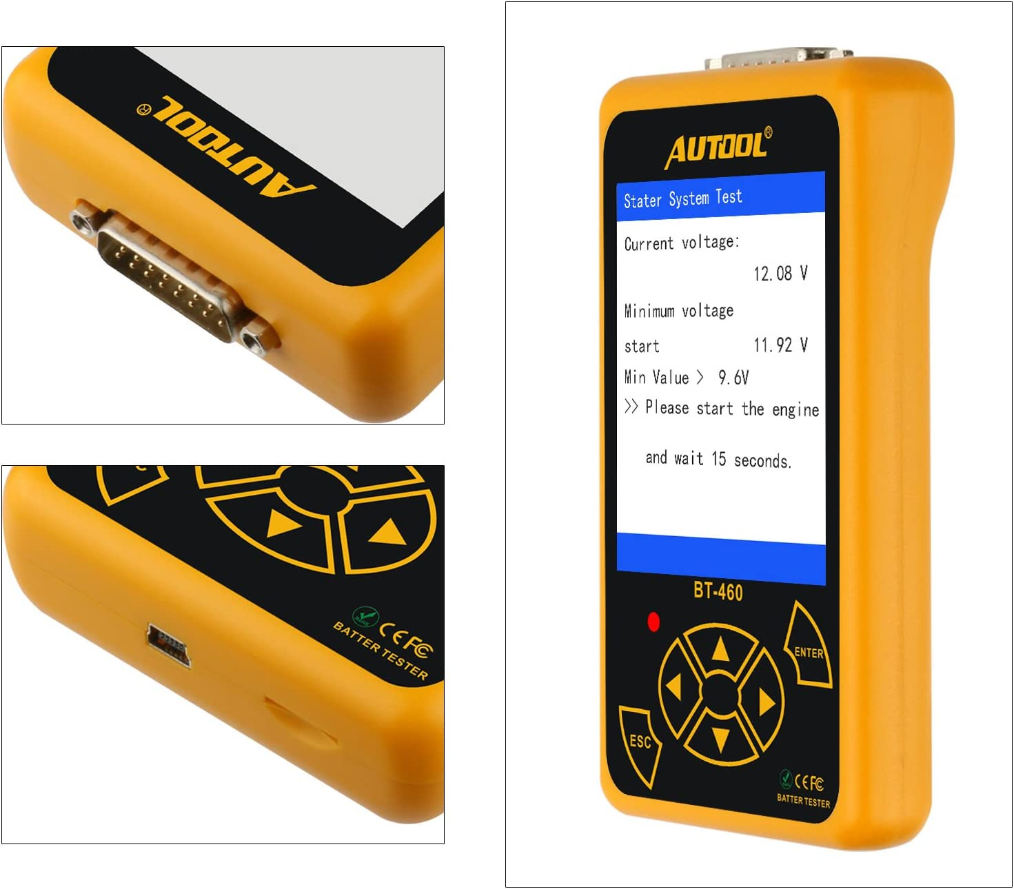 AUTOOL BT-460 Automotive Battery Load Tester Cranking and Charging System Analyzer Scan Tool for Cars//SUVs//Trucks Car Digital Battery Analyzer 12V//24V 100-2400 CCA