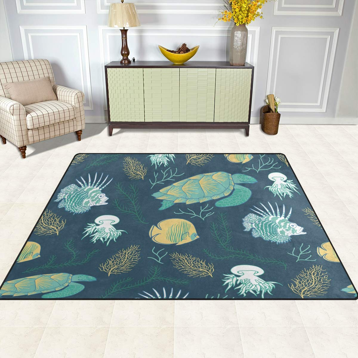 ALAZA Fire Fish Turtle Jellyfish and Corals Ocean Animals Area Rug Soft Non Slip Floor Mat Washable Carpet for Bedroom Living Room 1 Piece 4x5 Feet