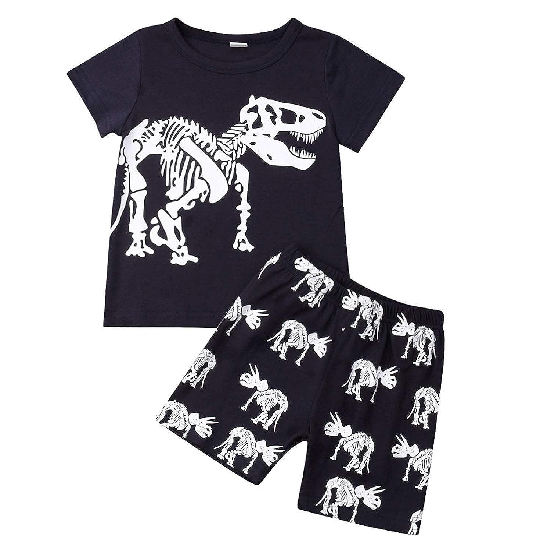 Kids Baby Boys Dinosaur Pajamas Cartoon Print Short Sleeve T Shirt Tops Shorts Outfits Set