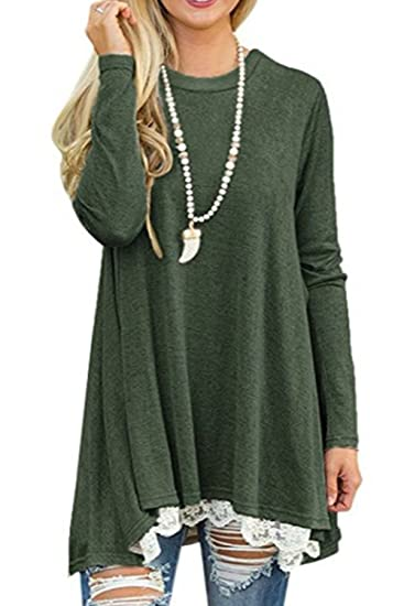 Women Lace Patchwork Swing Draped Fall Winter Tunics Dress Tops