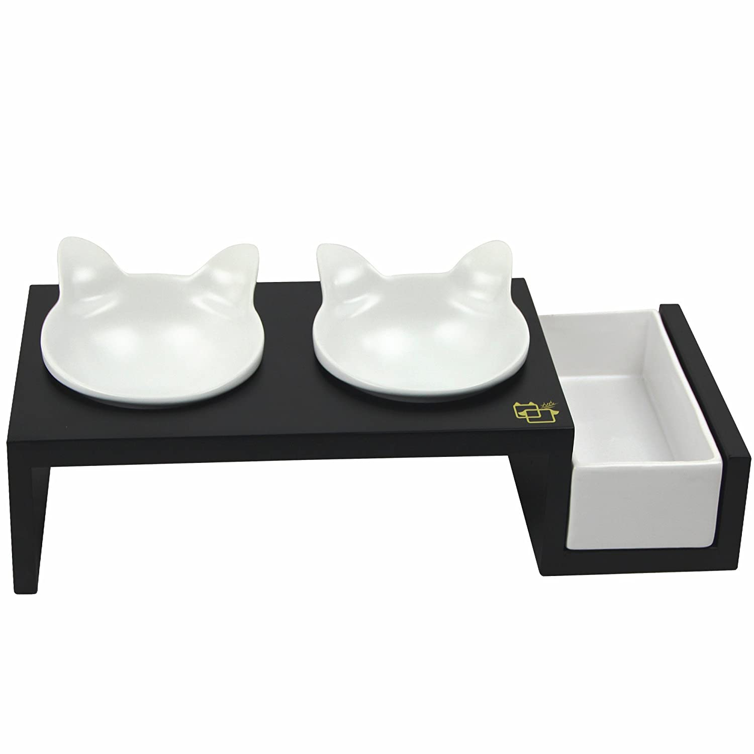 ❤_Kitten Feeder_❤ Solid Wood Elevated Stand & Ceramic Hand Craft Bowls by ViviPet - Aoshima