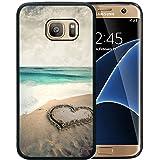 Galaxy S7 Edge Case, Customized Black Soft Rubber TPU Samsung Galaxy S7 Edge Case Beautiful beach with love