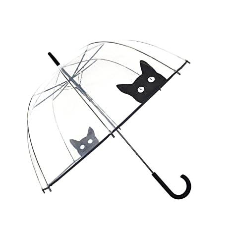 SMATI Paraguas Largo Transparente Forma de Campana automático - Sólido Versión Reforzada (Gato)