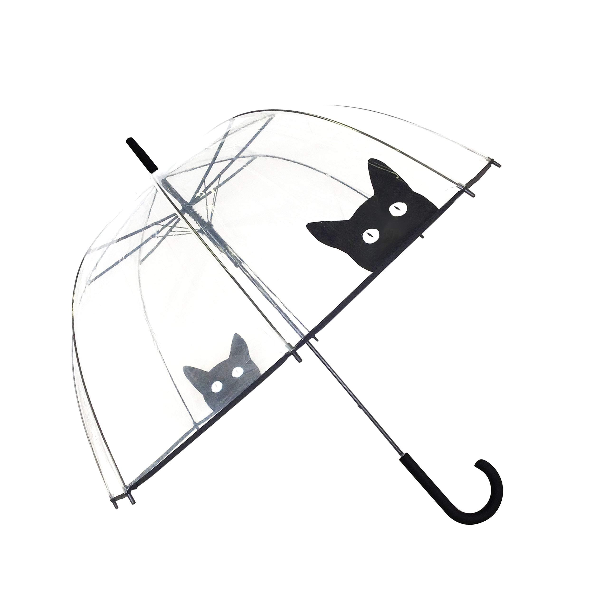 SMATI Stick Automatic Clear Stars Umbrella - Birdcage Dome See Through (Mom Kid) (Cat)