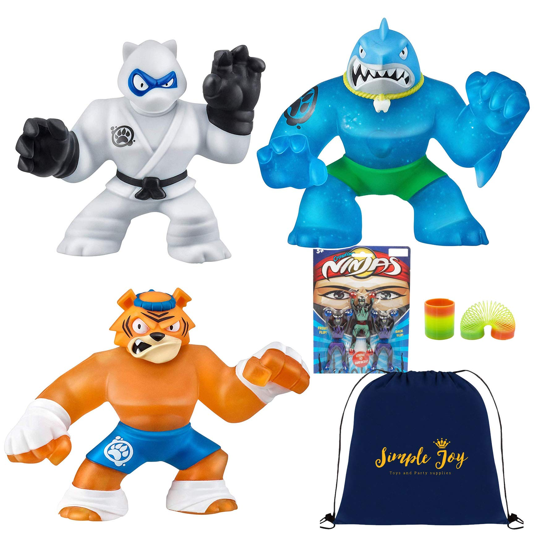 Heroes of Goo Jit Zu - 3 Pack of Super Stretchy Action Figures - Thrash, Pantaro, Tygor