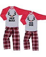 Footsteps Clothing His Doe and Her Buck Deer Antler Couples Christmas Pajamas - Each Sold Separately