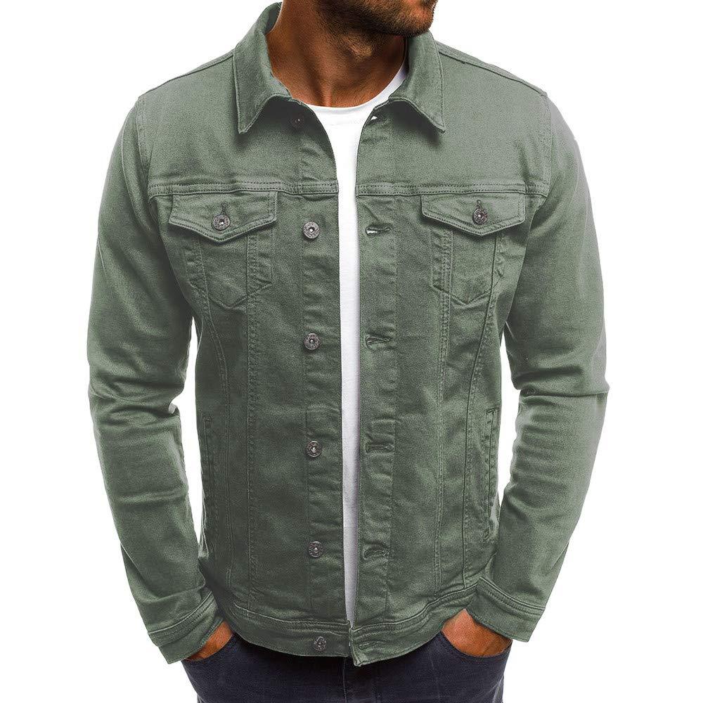 PASATO Men's Autumn Winter Button Solid Color Vintage Denim Jacket Tops Blouse Coat Top Cardigan Outwear(Army, XL)