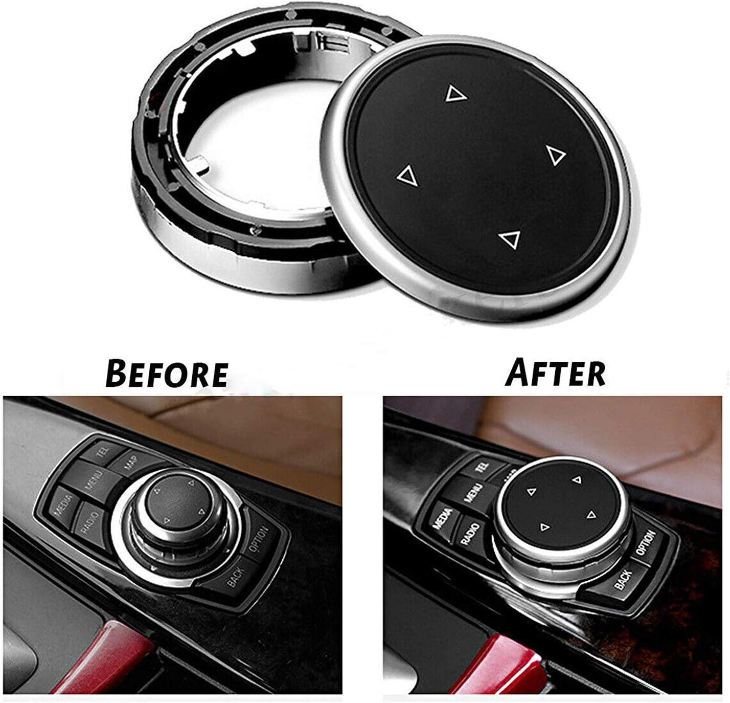 Black Qook Car Interior Center Console Multimedia Buttons Decorative Cover Frame Trim for BMW X1 X3 X5 X6 F30 E90 F10 F18 F25 E60
