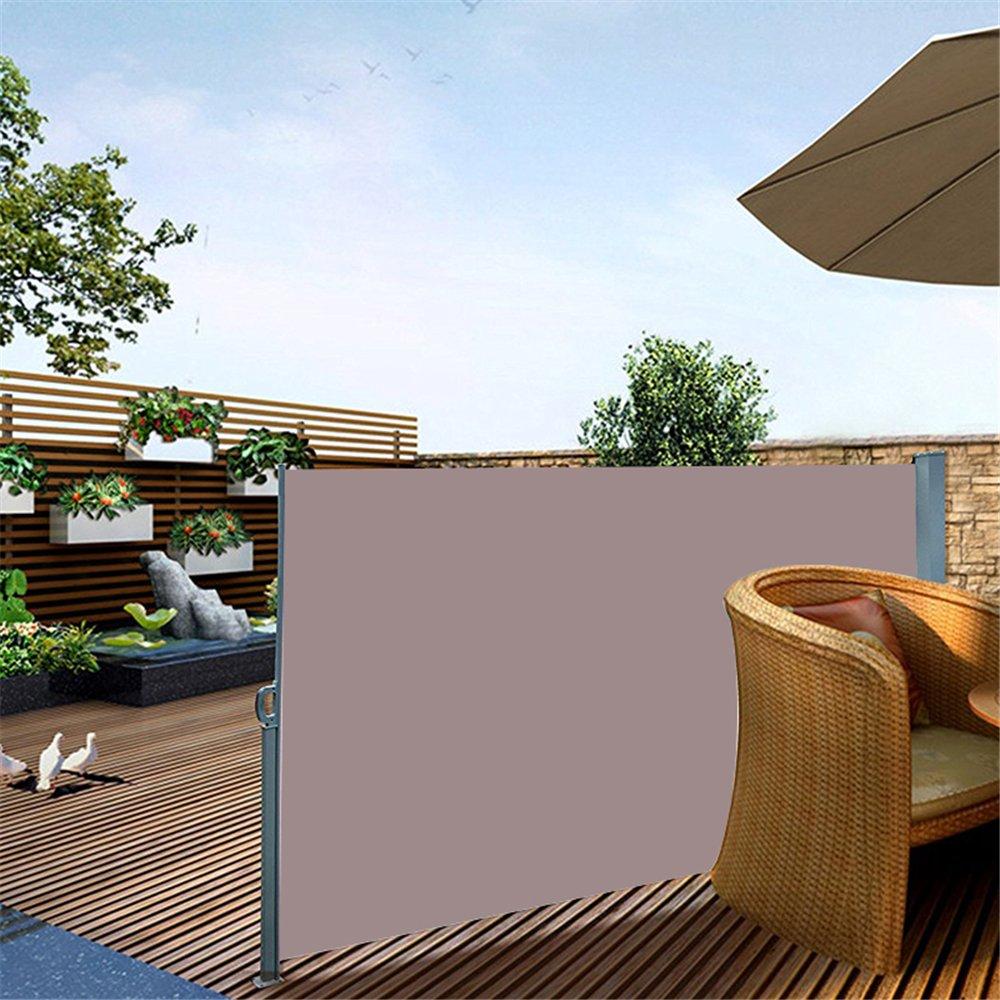 MCTECH® Seitenmarkise Zertifiziert Sonnenschutz Sichtschutz Windschutz Terrasse  Markise Polyester (1.6*3m, Braun)