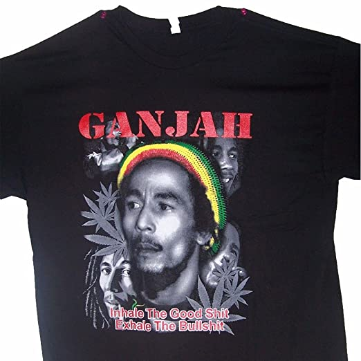 Amazon com: Bob Marley Ganjah Reggae Rasta Weed Cannabis Marijuana T