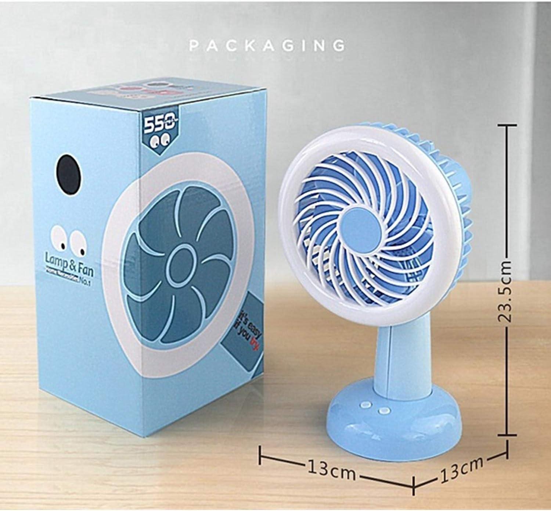 Air Cooling Fan Shaking Head Mini Fan LED Light Home Office Dormitory Desktop Fan USB Charging Children Small Fan Color : Blue
