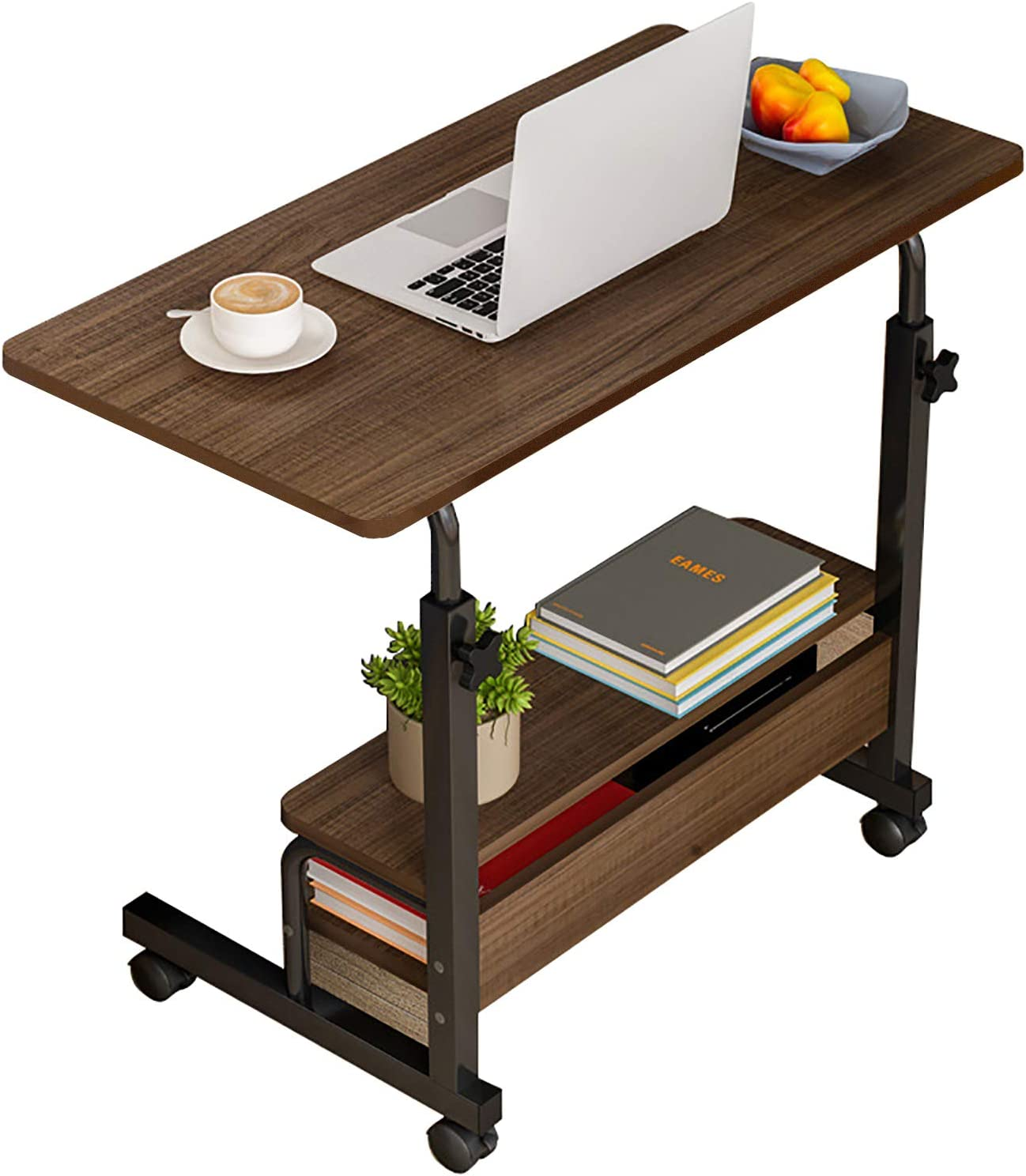 Computer-Desk Office-Desk, Small-Folding Gaming-Laptop Home-Office Desks for Small Spaces, Writing Study Desk Table with Storage for Home Bedroom, Adjustable Height 32×16×23-36 inches (Black)
