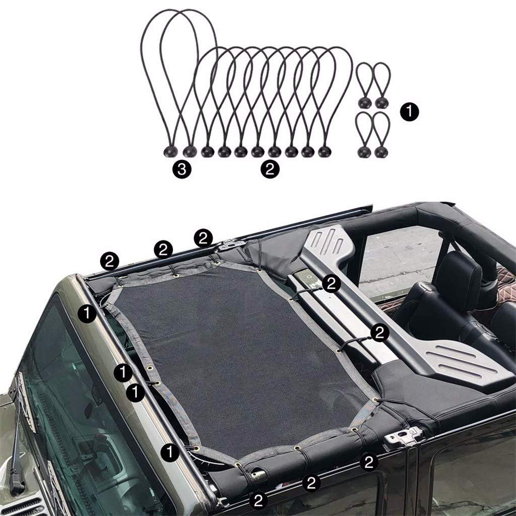 LLJEkieee UV Protection and Free Airflow UV Protection Mesh Sunshade for Jeep Wrangler,for JK, for JKU 2-door and 4-door(Front part) 2007-2017 by LLJEkieee