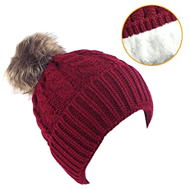 8bc1ca43b40 Women s Winter Fleece Lined Cable Knitted Pom Pom Beanie Hat at ...