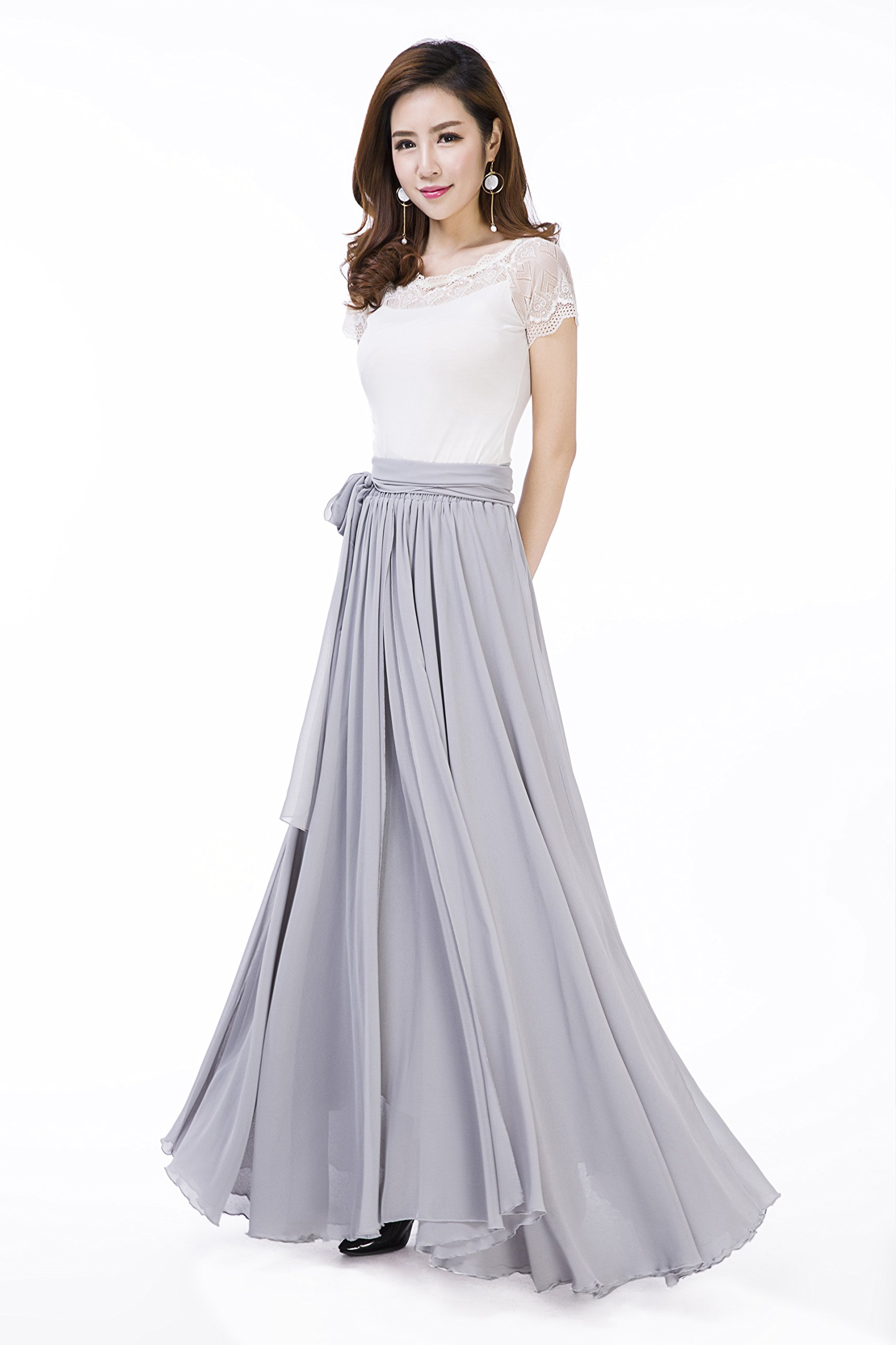 Sissily Women Summer Chiffon High Waist Pleated Big Hem Full/Ankle Length Beach Maxi Skirt(XX-Large/Light Grey)