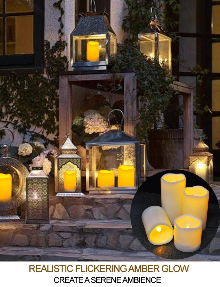 HOME MOST Set of 4 WATERPROOF Outdoor LED Pillar Candles with Remote (IVORY, 3''/4''/5''/6'' Tall, Wavy Edge) - LED Candles Flickering Outdoor Decorative Candles Set - Candle Decor Fake Candles with Timer by HOME MOST (Image #3)