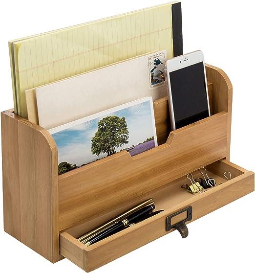 2 Etagen Schreibtisch Organizer Holz Stiftehalter Schreibtischbox mit Schubladen