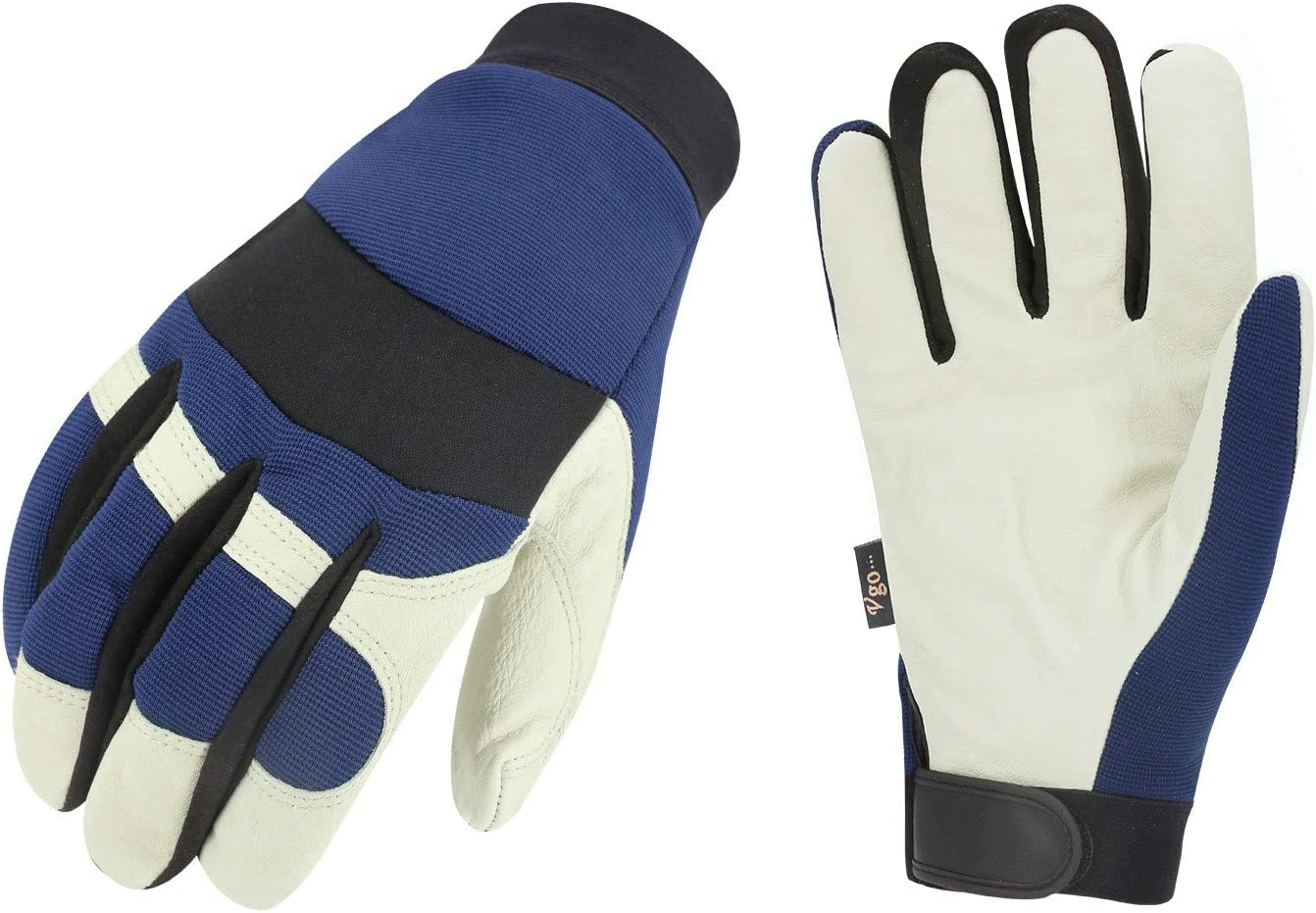Vgo 3Pairs 32? or above 3M Thinsulate C40 Lined Pigskin Leather Warm Winter Cold Storage Frozen Safety Working Gloves(Size XL,Blue,PA7620F)