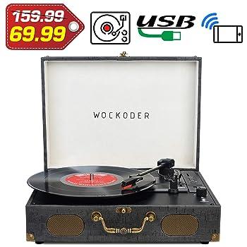 Wockoder KD - 3011BU Vintage Suitcase Turntable