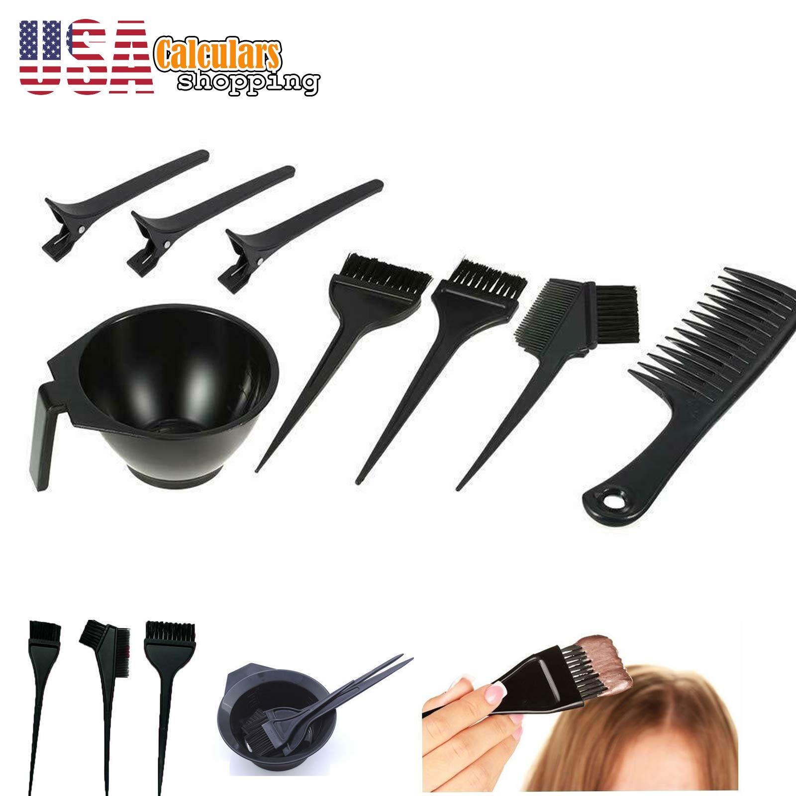 US Seller Hair Dye Color Bowl Combo Coloring Brush Kit Tint Tool Bleach 8 pc Set by Calculars