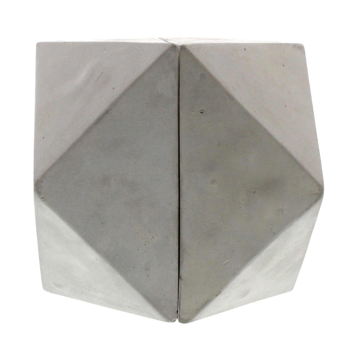 Geometric Modern Cement Faceted Cube Shape Book Ends | Minimalist Industrial by My Swanky Home
