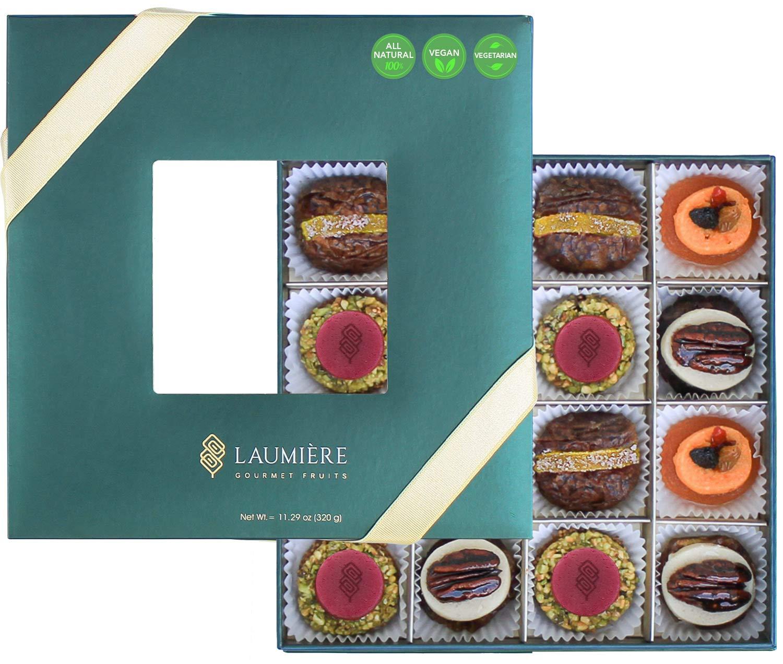 Laumière Gourmet Fruits | Le Cadeau Parfait Collection | Square Box | Gift Dried Fruit Baskets | Holiday Nut and Dried Fruit Gift Baskets | Sympathy Gift Baskets | Fathers Day Gift Basket