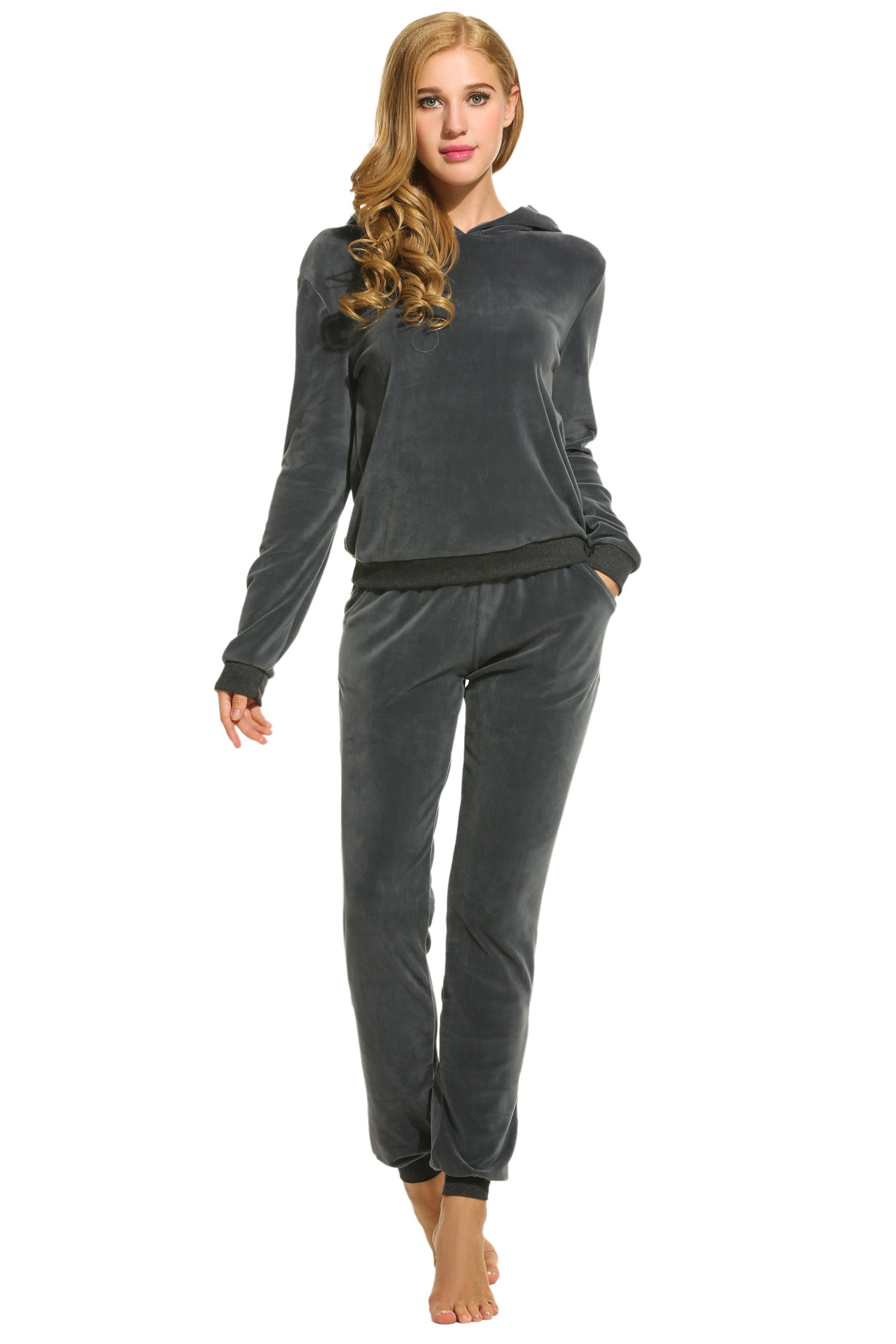 Hotouch Womens Velour Suit Set Soft Track Suit Charcoal L