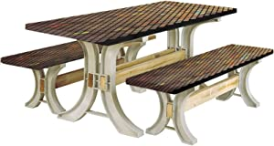 Earth Tones Picnic Table & Benches Cover,Vibrant Mosaic of Diagonal Squares with a Black Finish Celebration Event Theme 72