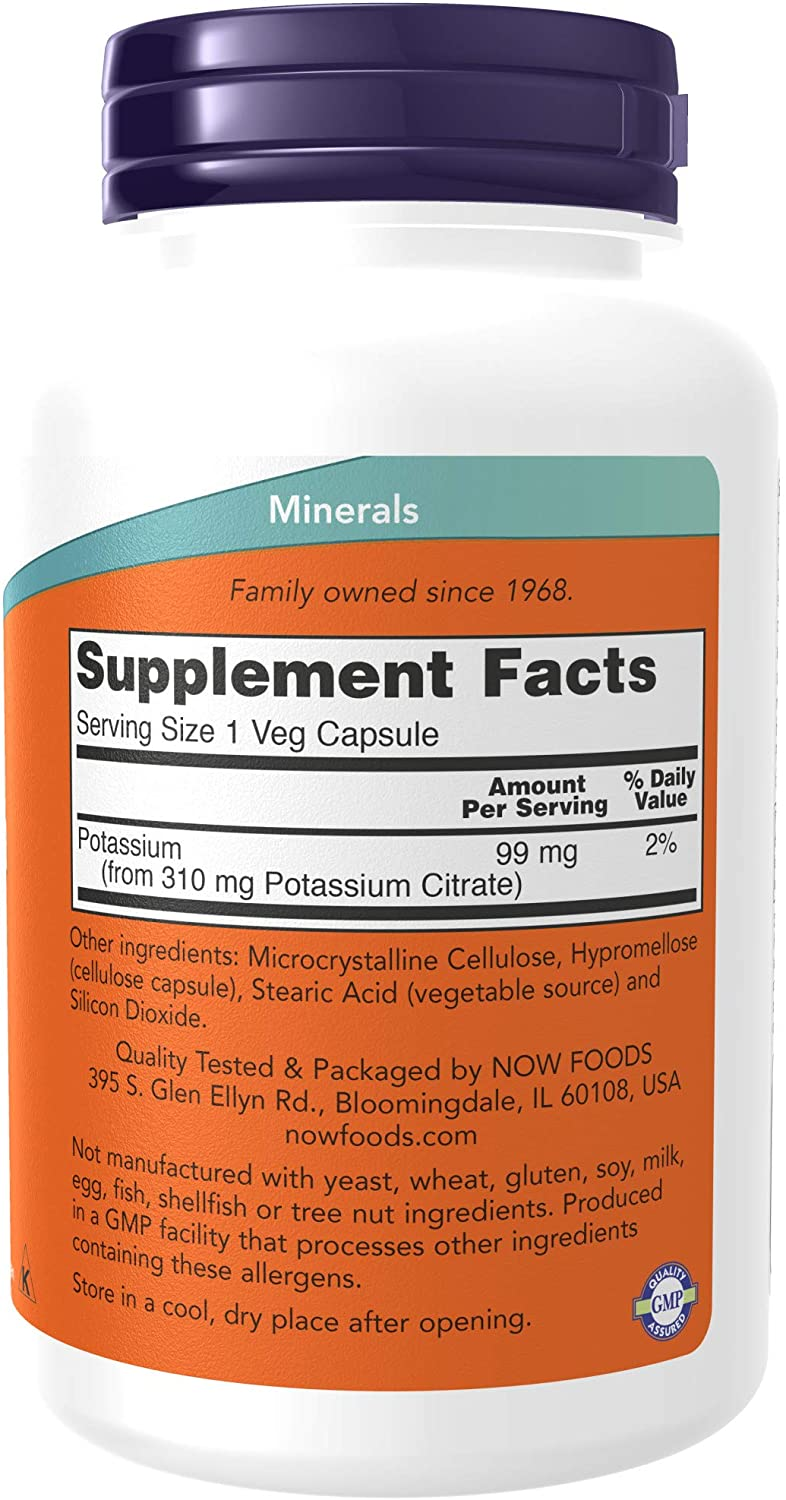 NOW Supplements, Potassium Citrate 99 mg, Supports Electrolyte Balance and Normal pH*, Essential Mineral, 180 Veg Capsules: Health & Personal Care