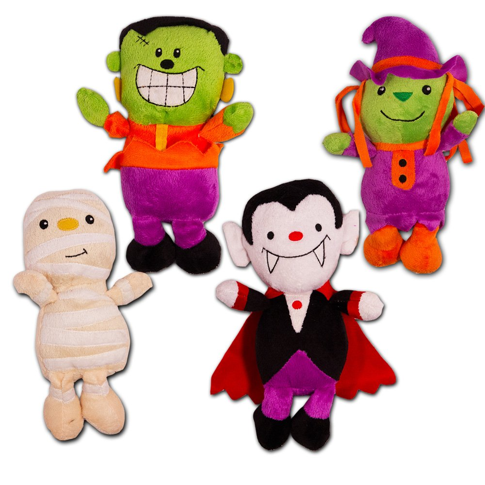 Halloween Plush Toys Super Set -- 4 Large Halloween Plush Stuffed Toys, 8 High (Vampire, Frankenstein, Mummy and Witch) 8 High (Vampire