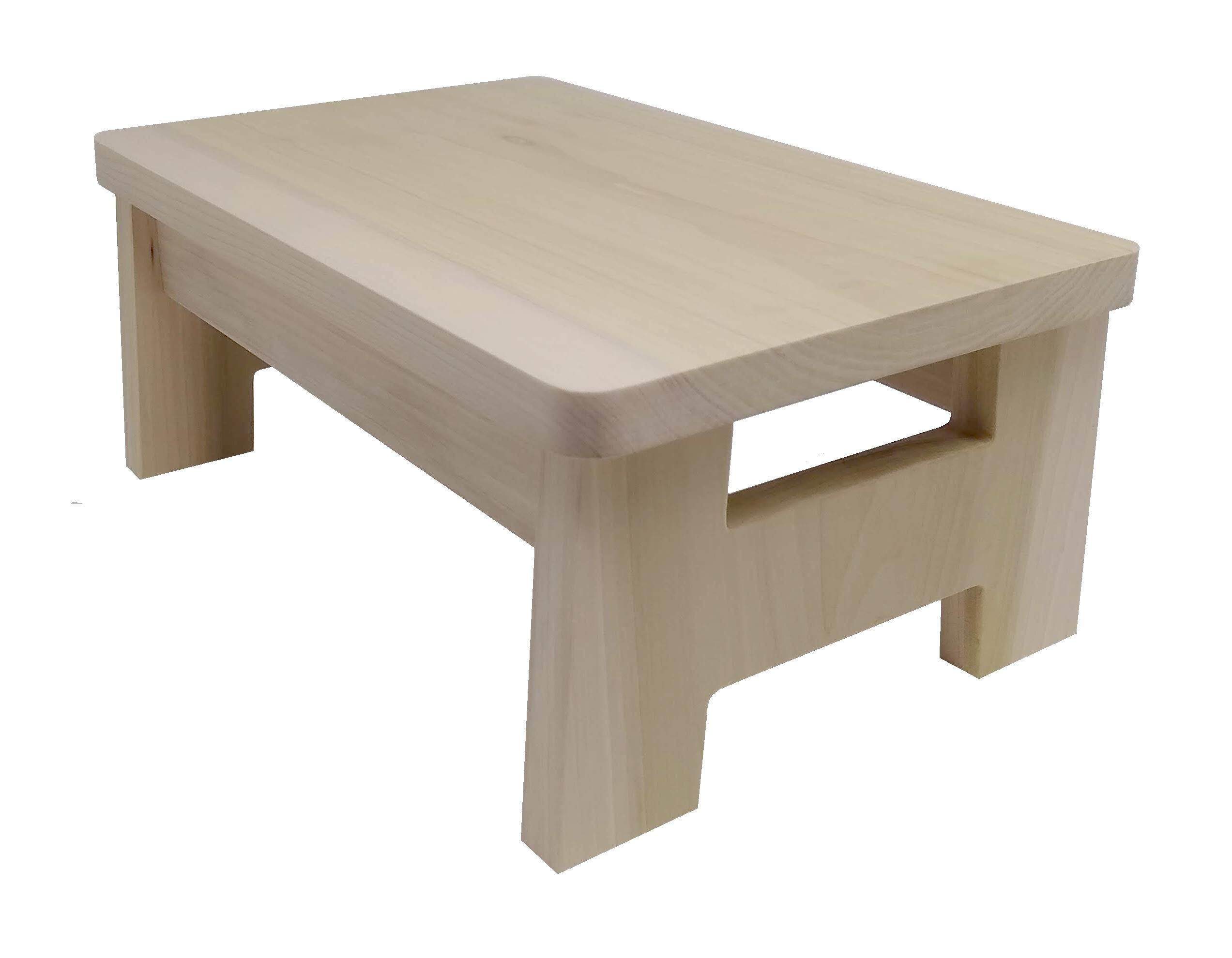 HollandCraft - 6 Inch Wooden Foot Stool - Unfinished - Hidden Wood Dowels (No Screws, Staples or Nails)