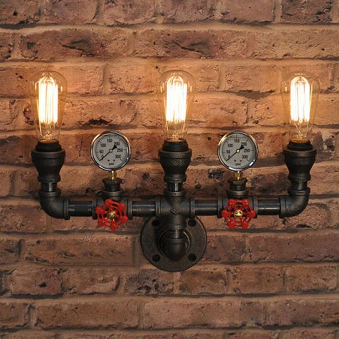 Industrielle Vintage Wandlampe Wandleuchte Rohr Leuchte E27 Sockel für Wohnzimmer Schlafzimmer Restaurant Café Loft Diele Keller Untergeschoss Dekoration (Keine Leuchtmittel) von Ruanpu