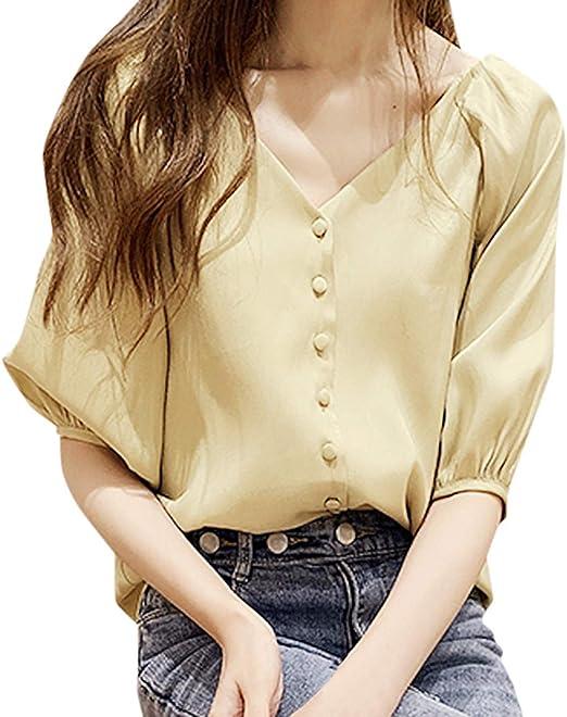 ღLILICATღ Camisa Mujeres Blusa Casual Cuello V Botón Camiseta Color Puro Camisa de Gasa Mangas Corta para Mujer Sexy Camisetas Tops: Amazon.es: Jardín