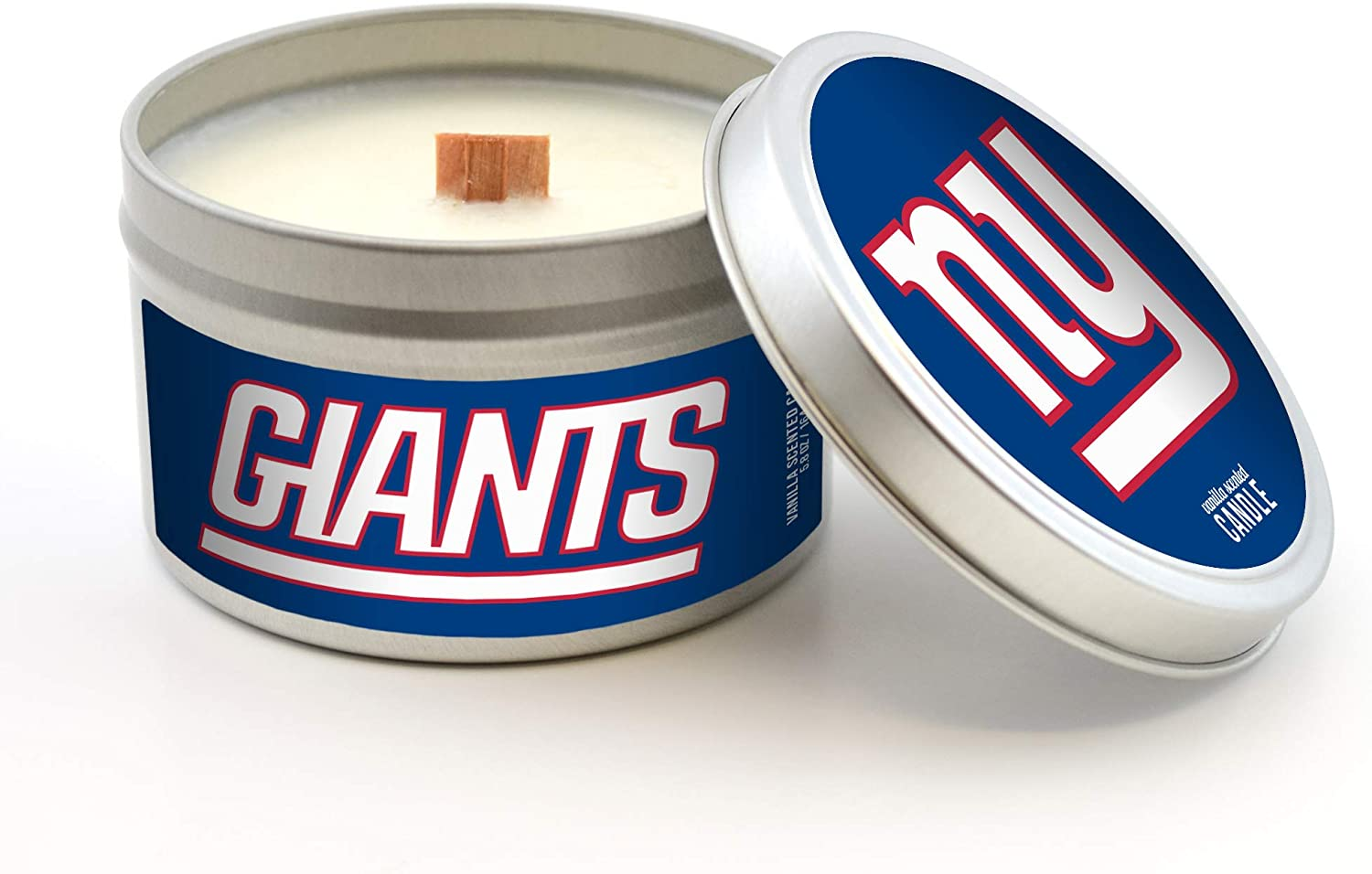Worthy Promotional NFL New York Giants Vanilla Scented Wood Wick Candle in Travel Tin with Lid 5.8-Ounce