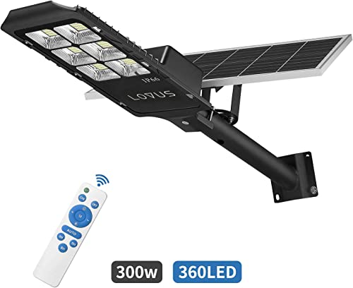 LOVUS Solar Street Lights, 300W Solar Street Lamp with Light Control and Remote Control Super Bright, ST300-049