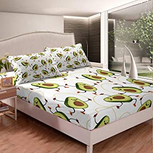 Erosebridal Nursery Avocado Bedding Set Halved Avocado Sheet Set Cartoom Smiling Faces Fruits Fitted Sheet for Kids Girls Rope Skipping Bed Cover Child Room Decor with 1 Pillow Case Twin Size Green