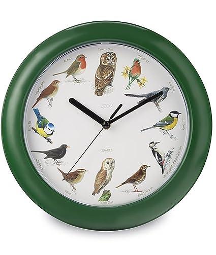 Zeon CE1258 - Reloj de pared con diseño de pájaros, color verde
