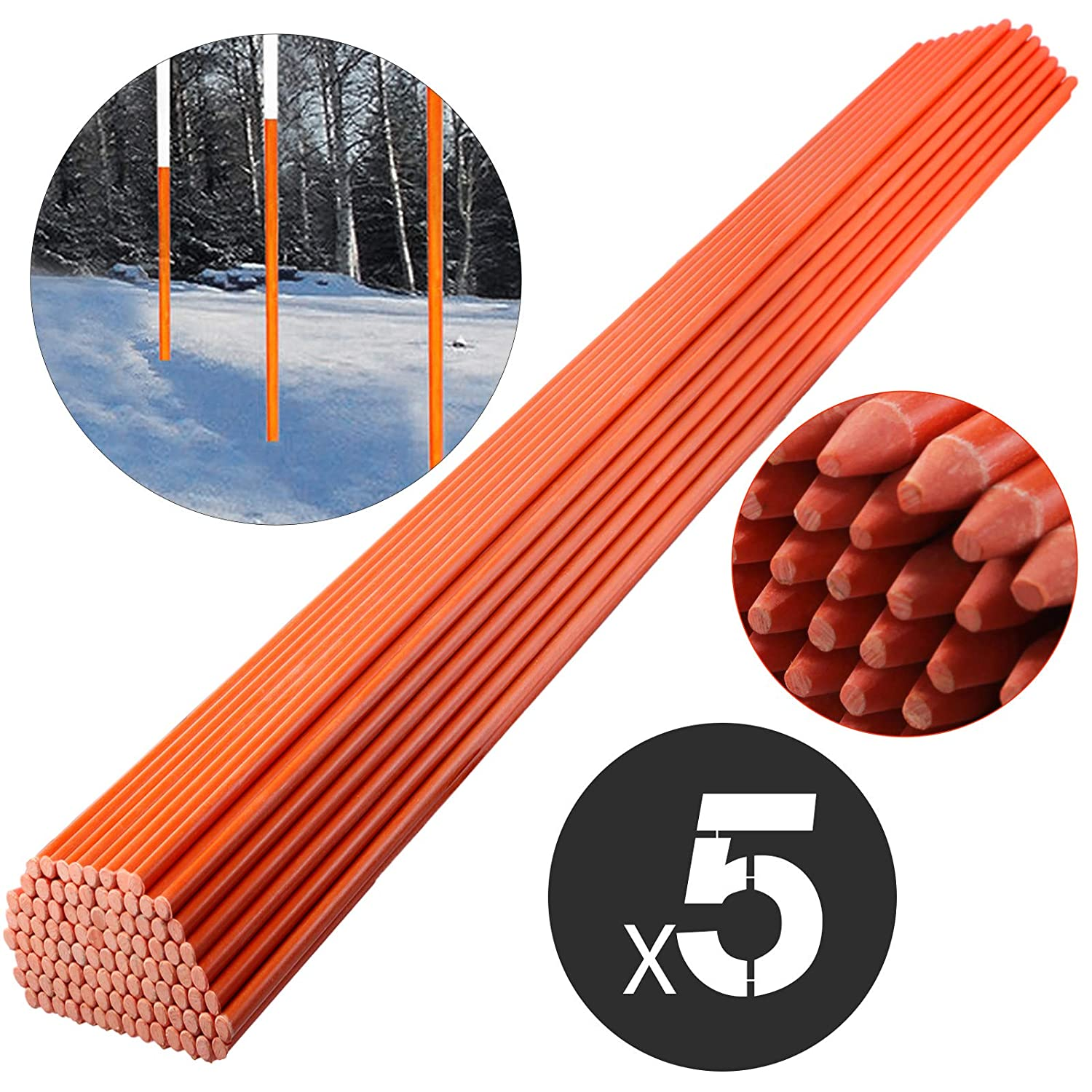 Mophorn Snow Stakes 5//16 Diameter x 48 Fiberglass Pole Driveway Marker Orange with Reflective Tape 200-Pack with Orange Cap Plow Stakes for Easy Visibility at Night