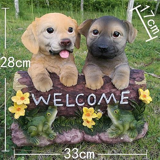 AWYJ La decoración del jardín Adornos Lindos for Perros de Dibujos Animados Cartel de Bienvenida Estatua de Saludo Resina Decoración Animal Estatuilla Pequeñas esculturas Estatua del jardín: Amazon.es: Hogar