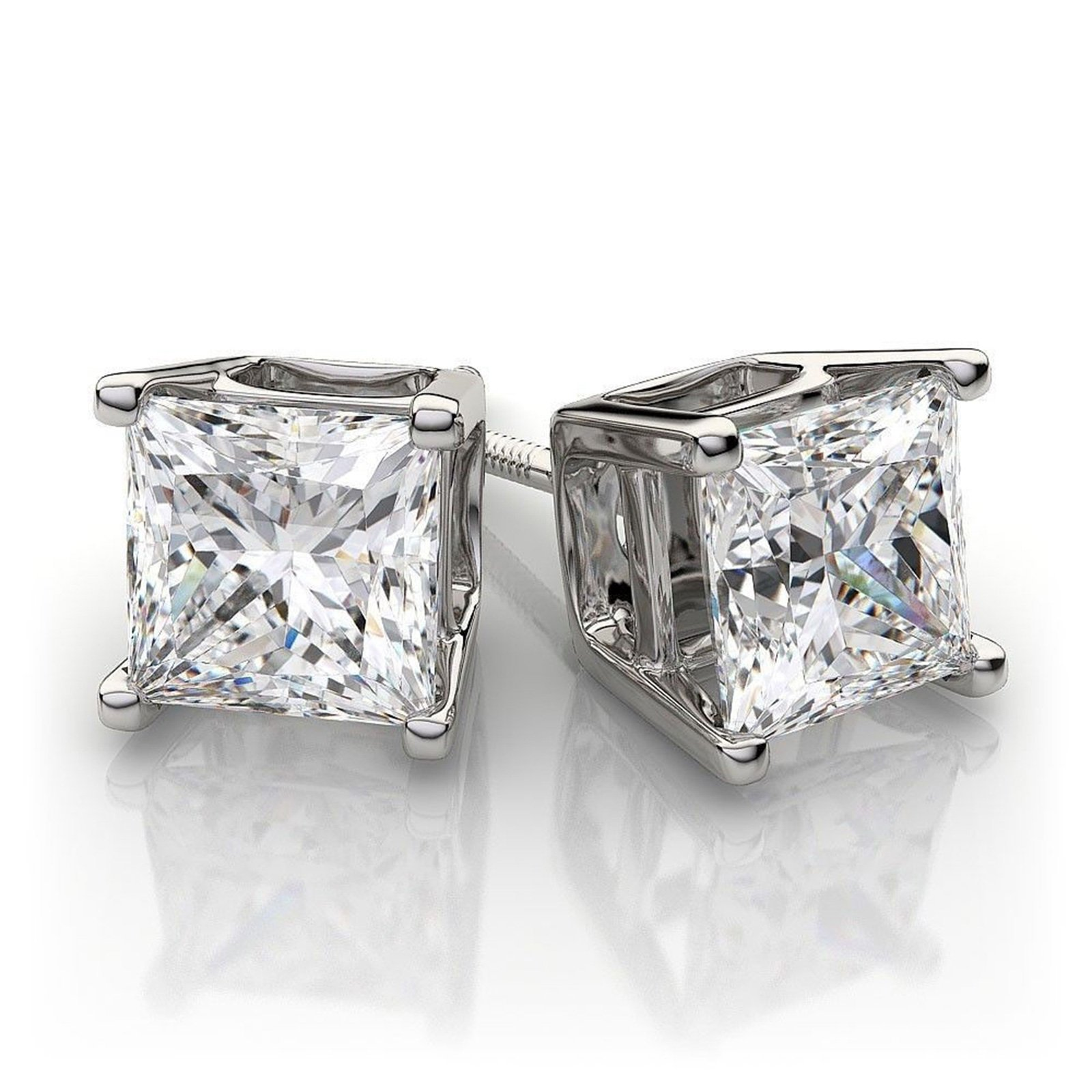4.0 ctw Princess Brilliant Cut Simulated Diamond CZ Solitaire Stud Earrings in 14k White Gold Screw Back by Clara Pucci (Image #3)