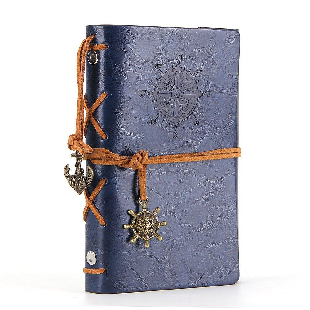 Diario con tapas de cuero estilo retro, Azul oscuro (xmp)