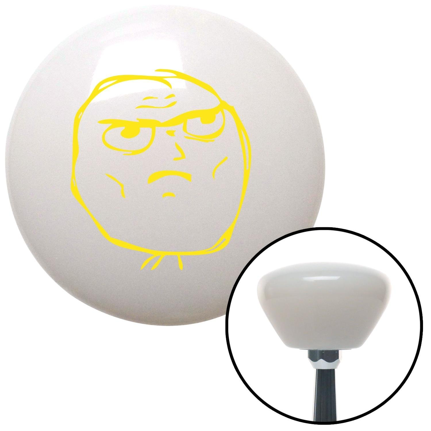 American Shifter 153872 White Retro Shift Knob with M16 x 1.5 Insert Yellow Determined