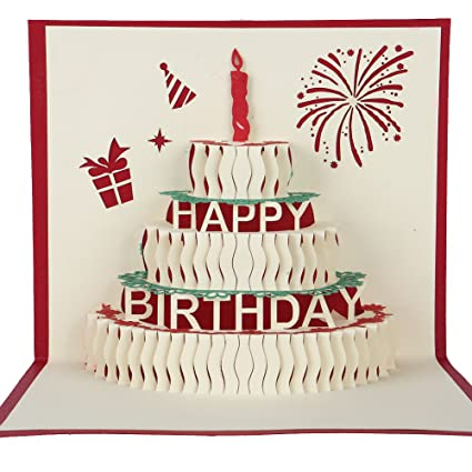 happy birthday cake 3d pop up greeting card write in your birthday wishes best birthday gift