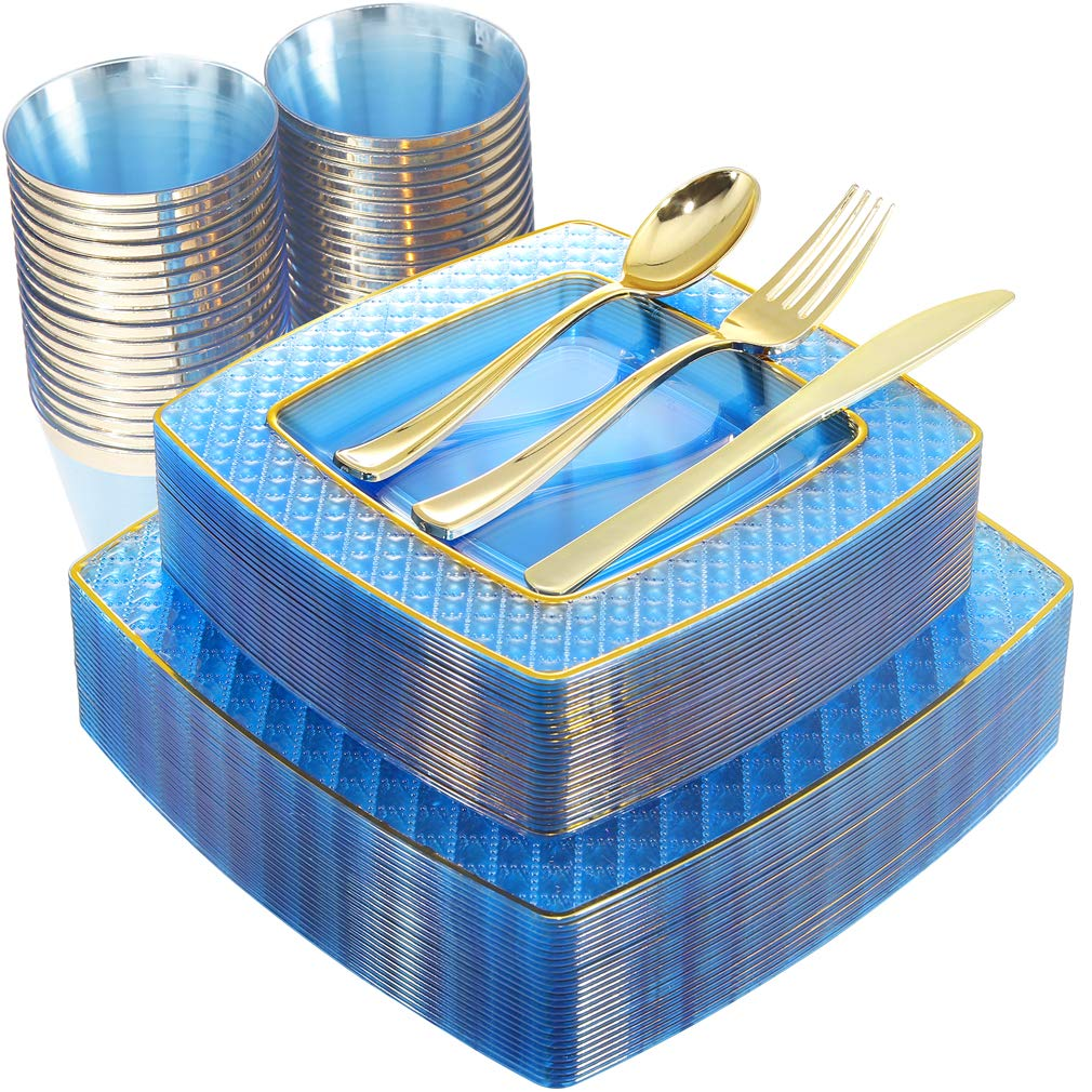 NERVURE 150PCS Blue with Gold Square Plastic Plates & Gold Silverware Set:25 Dinner Plates 9.5'', 25 Dessert Plates 7.6'', 25 Cups 9 Oz, 25 Forks, 25 Knives, 25 Spoons by NERVURE